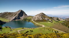 Picos de europa covadonga lakes time lapse mountains spain spectacular summer Stock Footage