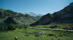 Picos de europa covadonga lakes drive mountains spain spectacular summer Stock Footage