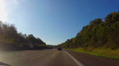 Moving on autobahn, German highway fast road, blue sky summer Stock Footage