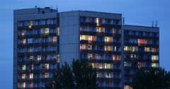 Residential House Building Tower Illuminated Night Evening Dusk Light Dresden Stock Footage