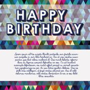 happy birthday design over geometric background vector illustration - stock illustration