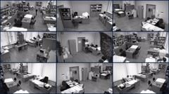 Office surveillance cameras view, nine in one, people at work, black-and-white Stock Footage