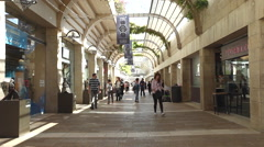 Shoppers and tourists at Mamilla shopping street Stock Footage