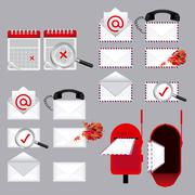 Stock Illustration of mail types over gray background vector illustration