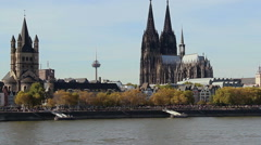 Cologne tourist attraction river Rhine ship, quay tours holiday Stock Footage