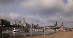 Wide Panorama Dresden Skyline Baroque Rococo City Center Symbol Germany Landmark Stock Footage