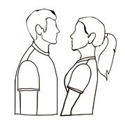 couple poses over white background vector,illustration - stock illustration