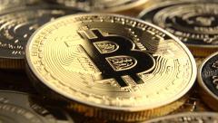 Bitcoins close up 24P Stock Footage