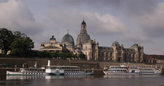 Tourists Attraction Tour Boats Cruise Ships Dresden Cityscape Fine Arts Academy Stock Footage