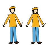 Couple of painters over white background vector illustration Stock Illustration