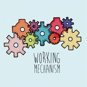 working mechanism over blue background vector illustration - stock illustration