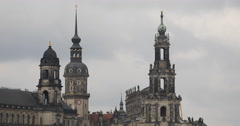 Dresden Skyline Old Town Architecture Hausmannsturm Church Saxony Towers Details Stock Footage