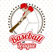 Stock Illustration of baseball league over dotted background vector illustration