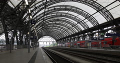 Regional Express Departing Departure Main Central Station Dresden Hauptbahnhof Stock Footage