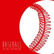 Stock Illustration of baseball league over red background vector illustration