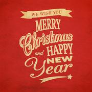 merry christmas typographic background - stock illustration