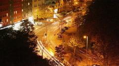 City street night timelapse, long exposure traffic lights, car - stock footage
