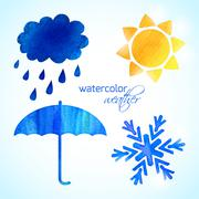 set of watercolor weather icons - stock illustration
