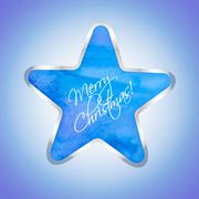star with merry christmas text - stock illustration