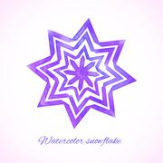 violet watercolor snowflake - stock illustration