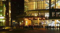 People gather front cinema hall, night entertainment meetings Stock Footage