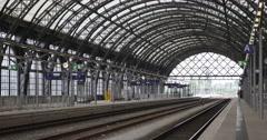 German Railway Main Central Station Dresden Hauptbahnhof Historic Wilhelmine Stock Footage