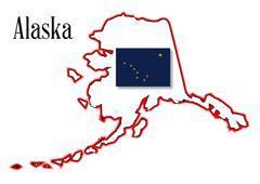 alaska state map and flag - stock illustration