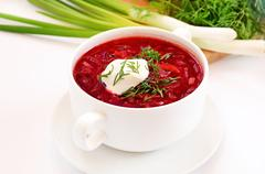 Stock Photo of red borscht soup with dill