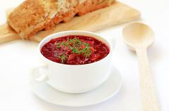 Red borscht soup with dill Stock Photos