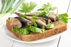 Sprats sandwich Stock Photos
