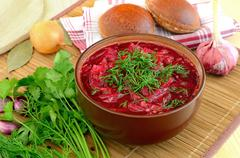 Red borscht with dill Stock Photos
