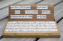 "German words: ""unterstützung, coaching, erfolg..."" (support, future,goals, c Stock Photos"
