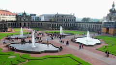 Tourist attraction site Royal Palace Zwinger Dresden, city tour Stock Footage