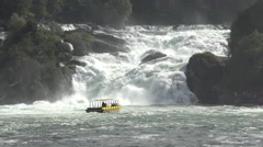 Switzerland Rhine Falls waterfall tourist boat in mist 4K 007 Stock Footage