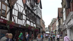 People walk along the broadway street, winchester, england Stock Footage