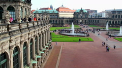 German Rococo architecture Royal Palace in Dresden, tourists day - stock footage
