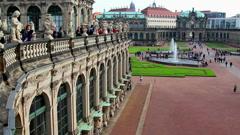 Royal Palace Dresden establishing shot pan, tourist people crowd - stock footage