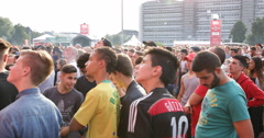 German Young Boy Football Fanatics Public Viewing Hamburg Kia Fan Arena Stadium Stock Footage