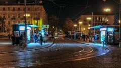 Tram Station by night in Zagreb Stock Footage