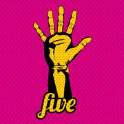 Five number over dotted background vector illustration Stock Illustration