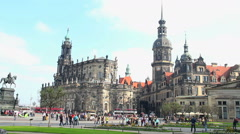 German city Dresden establishing shot, European architecture day - stock footage