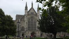 Zoom out, winchester cathedral, england Stock Footage
