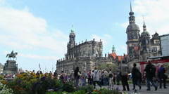 Dresden tourist site seeing place square, European architecture Stock Footage