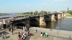 Old medieval bridge in German city, week end tourist groups Stock Footage