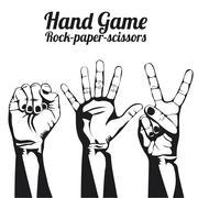 hand game over white background vector illustration - stock illustration