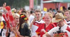 Huge Crowd People Cheering Applauding Hands In Air Waving Flags Hamburg Stadium - stock footage