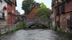 Bridge at winchester river walk, river itchen, england Stock Footage