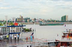 ships at phnom penh autonomous port, in cambodia - stock photo
