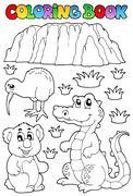 coloring book australian fauna - illustration. - stock illustration