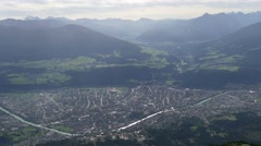 Innsbruck aerial view from mountain top Stock Footage